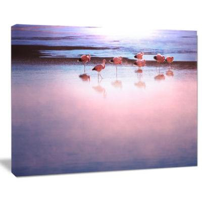 Designart Flamingo Birds On Bolivia Beach Modern Beach Canvas Art Print