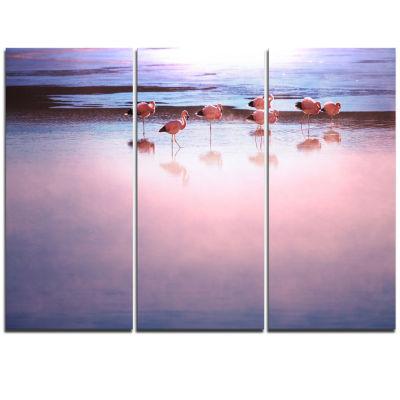 Designart Flamingo Birds On Bolivia Beach Modern Beach Canvas Art Print - 3 Panels