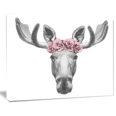 Design Art Moose With Floral Head Wreath Moose Canvas Art Print