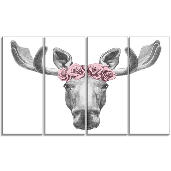 Designart Moose With Floral Head Wreath Moose Canvas Art Print - 4 Panels