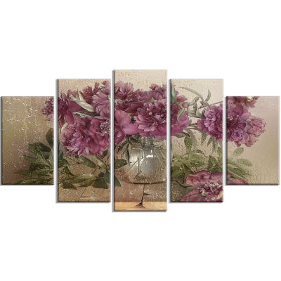 Designart Bouquet Of Pink Peonies Floral Art Canvas Print - 5 Panels