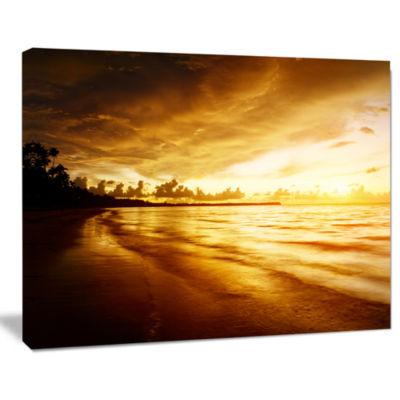 Designart Fascinating Caribbean Beach In Yellow Seascape Canvas Art Print