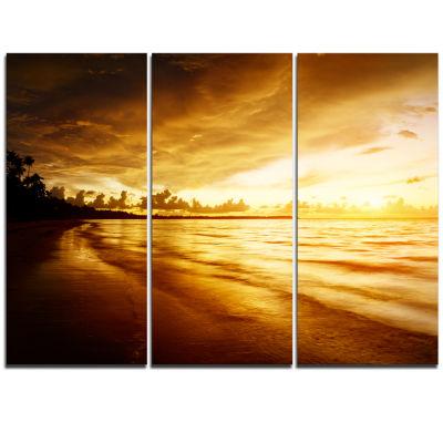 Design Art Fascinating Caribbean Beach In Yellow Seascape Canvas Art Print - 3 Panels