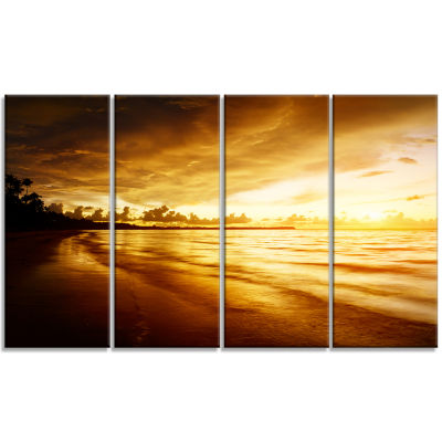 Design Art Fascinating Caribbean Beach In Yellow Seascape Canvas Art Print - 4 Panels