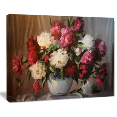 Design Art Bouquet Of Blooming Peonies Floral Wall Art Canvas