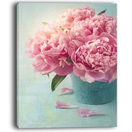 Designart Pink Peony Flowers In Vase Wall Art Canvas