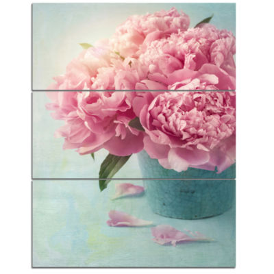 Designart Pink Peony Flowers In Vase Wall Art Canvas - 3 Panels