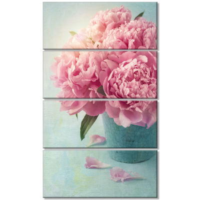 Designart Pink Peony Flowers In Vase Wall Art Canvas - 4 Panels