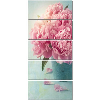 Design Art Pink Peony Flowers In Vase Wall Art Canvas - 5 Panels