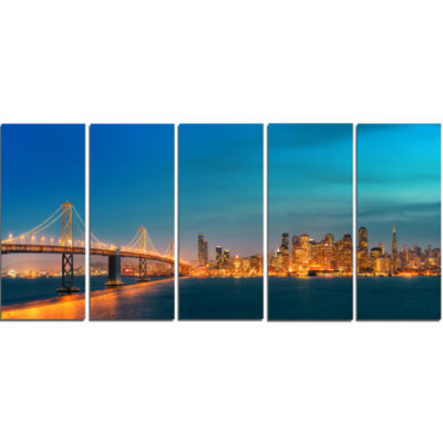 Designart San Francisco Skyline At Night (PT10036)Cityscape Canvas Print - 5 Panels