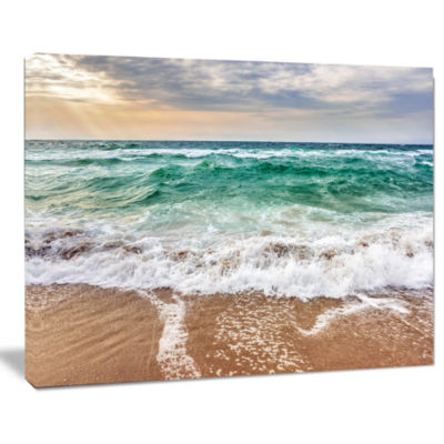 Designart Crystal Clear Blue Foaming Waves Seascape Canvas Art Print
