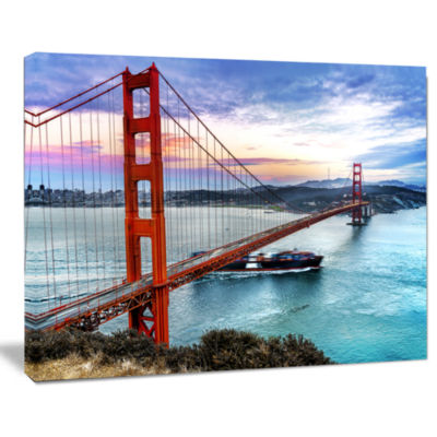 Designart Golden Gate In San Francisco Sea BridgeCanvas Art Print