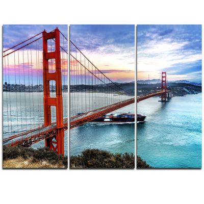 Design Art Golden Gate In San Francisco Sea Bridge Canvas Art Print - 3 Panels