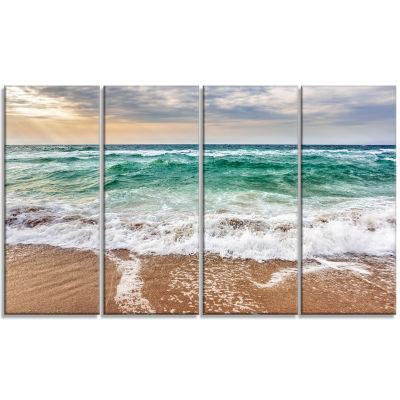 Designart Crystal Clear Blue Foaming Waves Seascape Canvas Art Print - 4 Panels