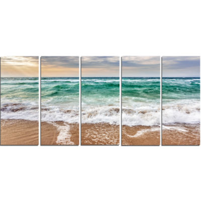 Design Art Crystal Clear Blue Foaming Waves Seascape Canvas Art Print - 5 Panels