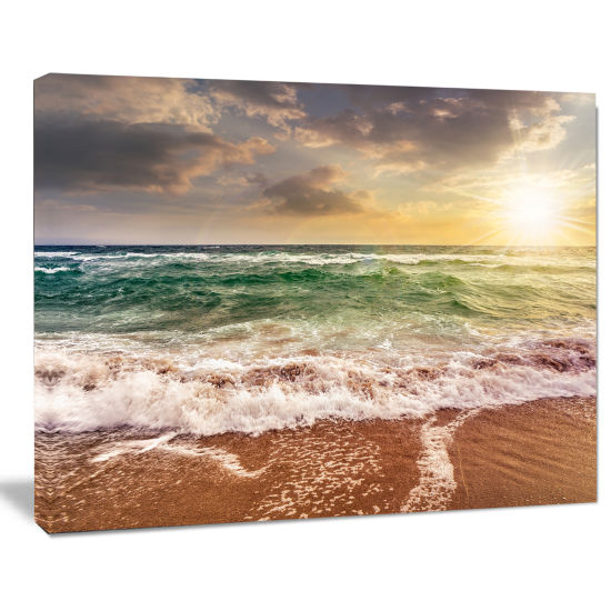 Designart Sandy Beach Washed By Waves Seascape Canvas Art Print