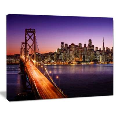Design Art San Francisco Skyline And Bay Bridge Sea Bridge Canvas Art Print
