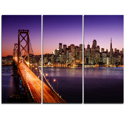 Design Art San Francisco Skyline And Bay Bridge Sea Bridge Canvas Art Print - 3 Panels
