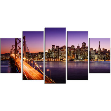 Design Art San Francisco Skyline And Bay Bridge Sea Bridge Canvas Art Print - 5 Panels