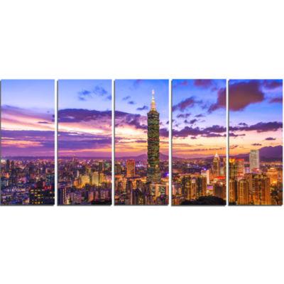 Designart City Of Taipei At Sunset Cityscape Canvas Print - 5 Panels