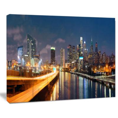 Design Art Philadelphia Skyline At Night Cityscape Canvas Print