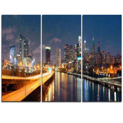 Designart Philadelphia Skyline At Night CityscapeCanvas Print - 3 Panels