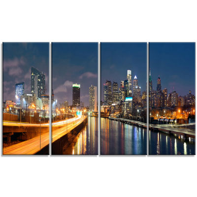 Designart Philadelphia Skyline At Night CityscapeCanvas Print - 4 Panels