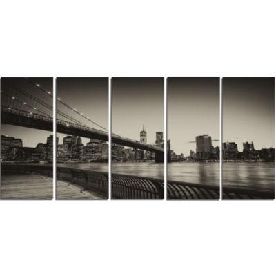 Designart Famous Landmark Of Brooklyn Bridge Cityscape Canvas Print - 5 Panels