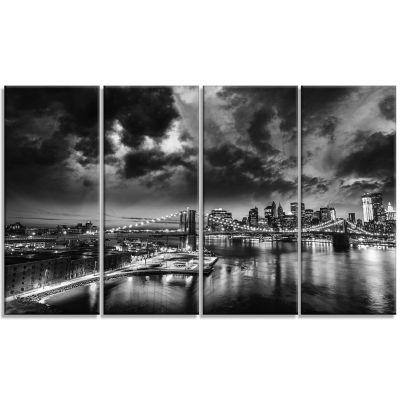 Designart Amazing Night In New York City CityscapeCanvas Print - 4 Panels