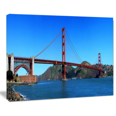Design Art Golden Gate Bridge Under Blue Sky Cityscape Canvas Print