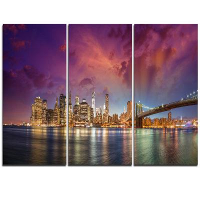 Designart New York Manhattan Skyline With Clouds Cityscape Canvas Print - 3 Panels