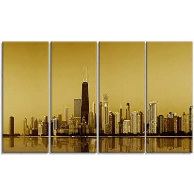 Designart Chicago Gold Coast With Skyscrapers Cityscape Canvas Print - 4 Panels