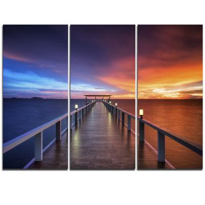 Designart Picturesque Seashore With Long Pier Canvas Art Print - 3 Panels