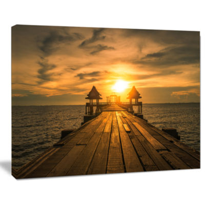 Design Art Huge Wooden Bridge To Illuminated Sky Pier Seascape Canvas Art Print