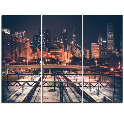 Design Art Dark Chicago Skyline And Railroad Cityscape Canvas Print - 3 Panels