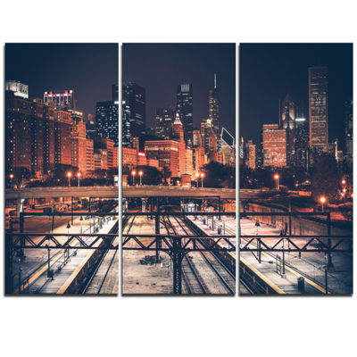 Designart Dark Chicago Skyline And Railroad Cityscape Canvas Print - 3 Panels
