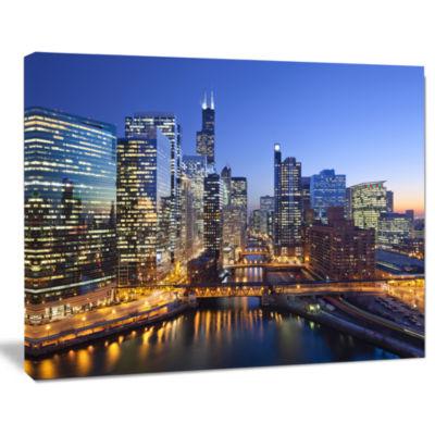 Designart Chicago River With Bridges At Sunset Cityscape Canvas Print