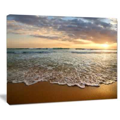 Design Art Bright Cloudy Sunset In Calm Ocean Seashore Canvas Art Print