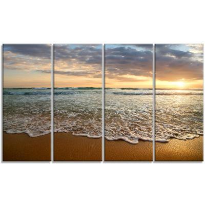 Design Art Bright Cloudy Sunset In Calm Ocean Seashore Canvas Art Print - 4 Panels