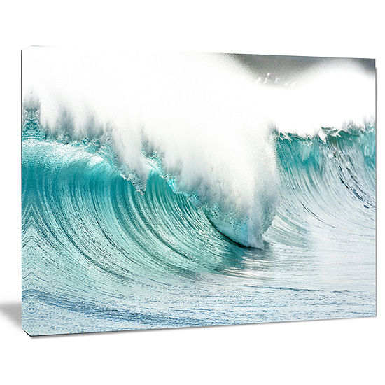 Designart Massive Blue Waves Breaking Beach Seashore Canvas Art Print