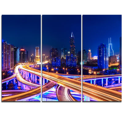 Design Art Interchange Overpass At Night Skyline Cityscape Canvas Print - 3 Panels