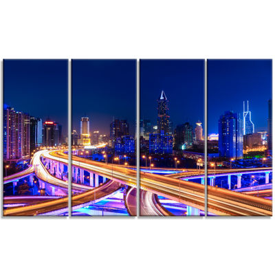 Designart Interchange Overpass At Night Skyline Cityscape Canvas Print - 4 Panels