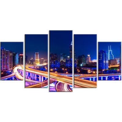Designart Interchange Overpass At Night Skyline Cityscape Canvas Print - 5 Panels