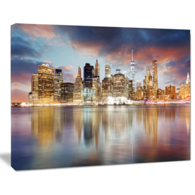 Design Art New York Skyline At Sunrise With Reflection Cityscape Canvas Print