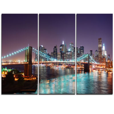 Design Art New York City Manhattan Skyline Panorama Cityscape Canvas Print - 3 Panels