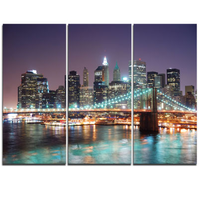 Design Art New York City Manhattan Skyscrapers Cityscape Canvas Print - 3 Panels