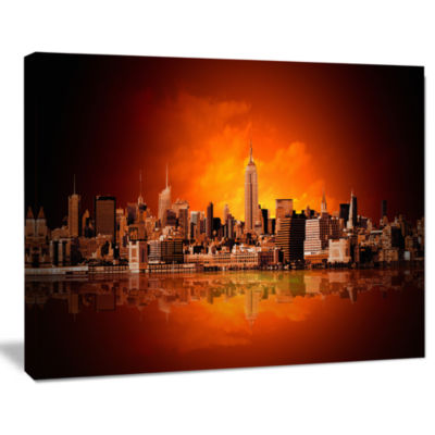 Design Art New York City Panorama In Red Light Cityscape Canvas Print