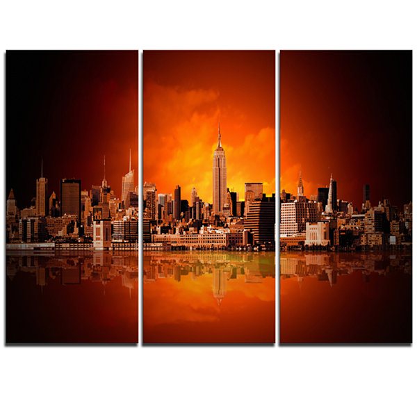 Designart New York City Panorama In Red Light Cityscape Canvas Print - 3 Panels