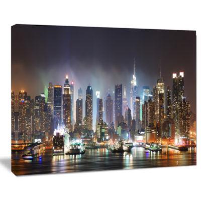 Designart New York Times Square In Blue Light Cityscape Canvas Print
