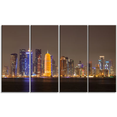 Designart Doha City Skyline At Night Qatar Cityscape Canvas Print - 4 Panels